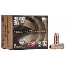 Střelivo Federal Personal Defense, 9mm Luger, 124GR, Hydra Shok JHP